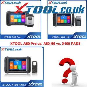 XTOOL A80 Pro VS A80 H6 VS X100 PAD3