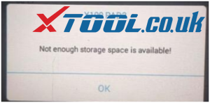 XTOOL Not Enough Storage Space Is Availalbe