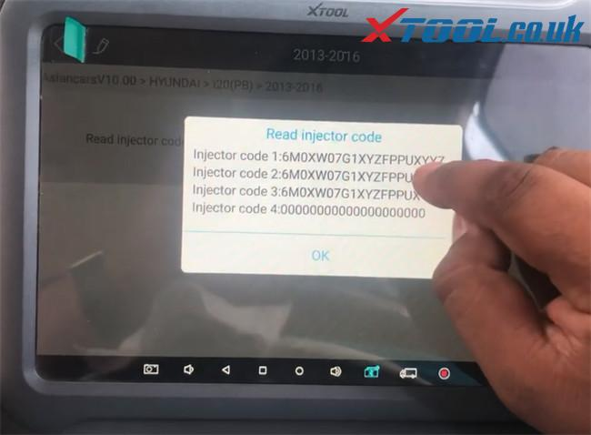 Xtool A80 Pro Hyundai I20 Pb 2016 Injector Code 6