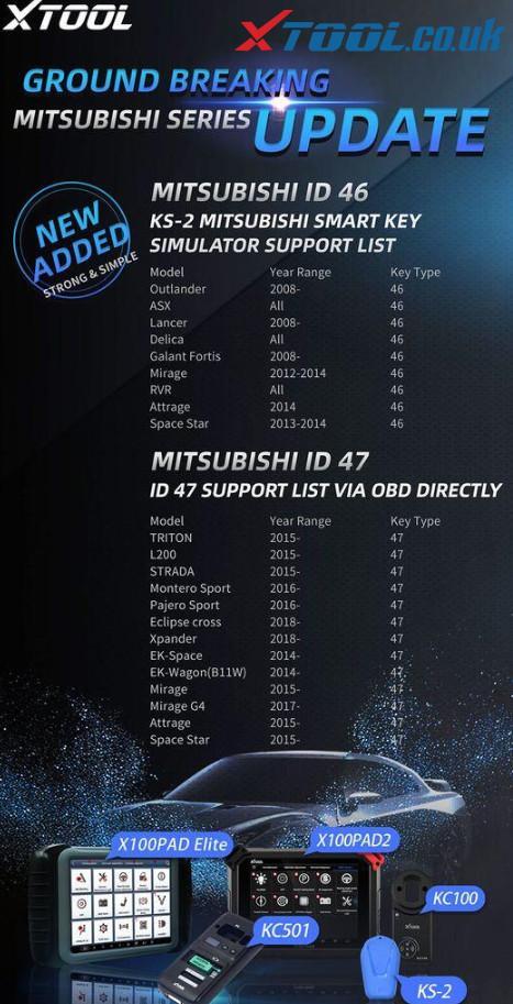 X100 Pad2 Pad3 Add Mitsubishi Id46 Id47